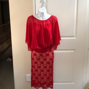 Material Girl Red Flowered Lace Pencil Skirt